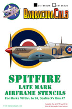 BC72378  Spitfire Later Marks Airframe Stencils
