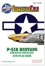 BC32010 P-51D Mustang Cockpit Stencils and Placards - 1/32 Scale