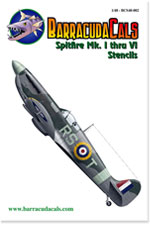 BC-S48002 Spitfire Mk. I through VI Stencils - 1/48 Scale